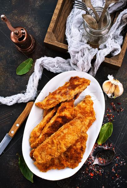 Сток-фото: жареный · рыбы · белый · пластина · мяса · томатный