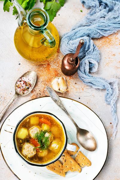 商業照片: 湯 · 肉丸 · 新鮮 · 肉類 · 蔬菜