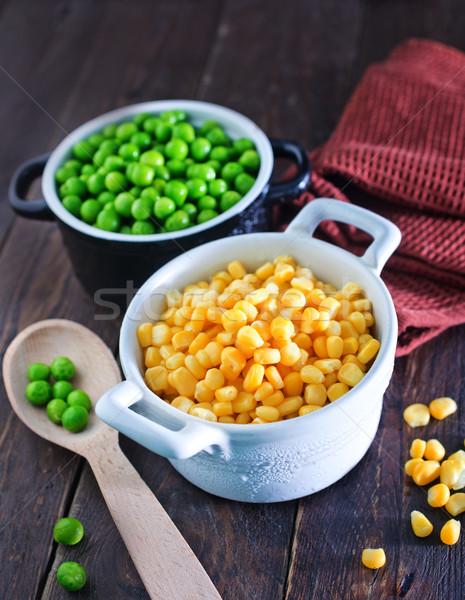 Stockfoto: Mais · erwten · groene · kom · natuur