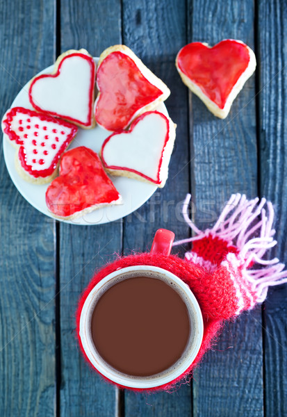 Boire rouge tasse table amour bois Photo stock © tycoon
