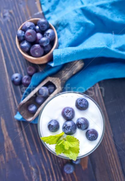 Yogurt mirtillo alimentare vetro tavola piatto Foto d'archivio © tycoon