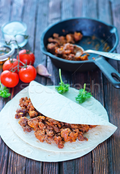 Ingredientes carne alimentos madera fondo Foto stock © tycoon