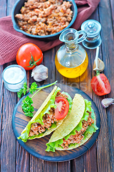 Carne tomate mesa madera placa Foto stock © tycoon