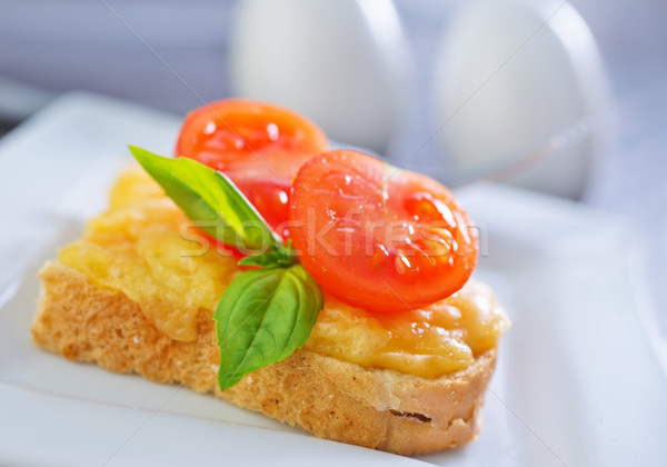 bread with cheese,tomato and basil Stock photo © tycoon