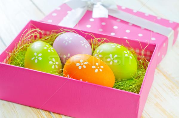 Húsvéti tojások húsvét tavasz természet doboz űr Stock fotó © tycoon