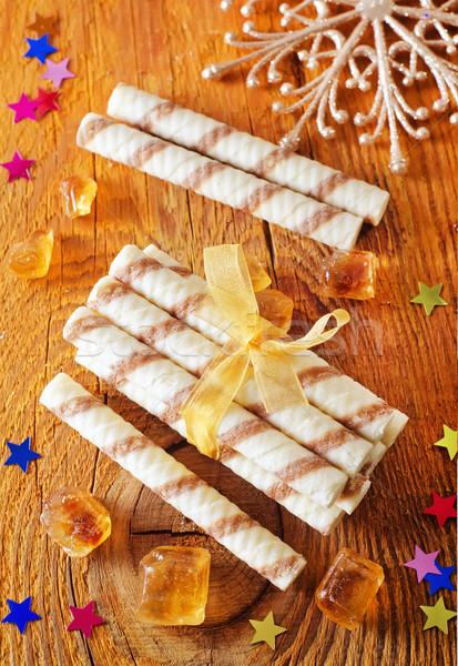 Spirál ostya csokoládé torta csillag fehér Stock fotó © tycoon