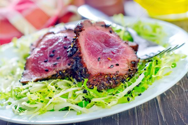 Bife comida fogo sangue jantar carne Foto stock © tycoon