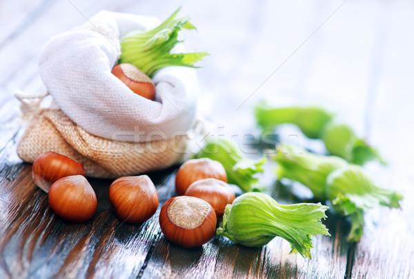 Hazelnoten houten tafel najaar oogst noten voedsel Stockfoto © tycoon