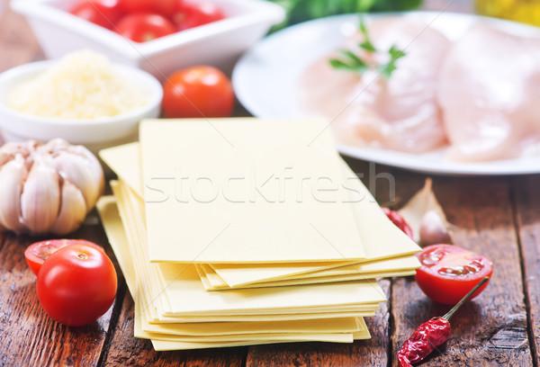 材料 ラザニア 木製のテーブル 光 乳がん 表 ストックフォト © tycoon