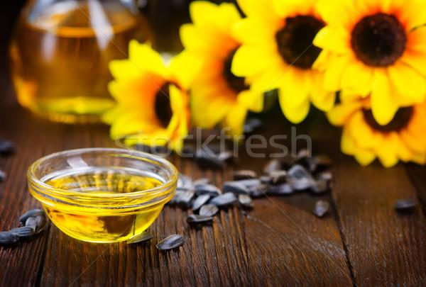 Napraforgóolaj napraforgó magok asztal textúra étel Stock fotó © tycoon
