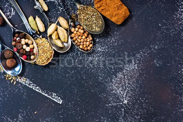 Gewürz Aroma trocken Kräuter schwarz Tabelle Stock foto © tycoon