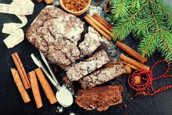 Csokoládés sütemény karácsony dekoráció asztal háttér torta Stock fotó © tycoon