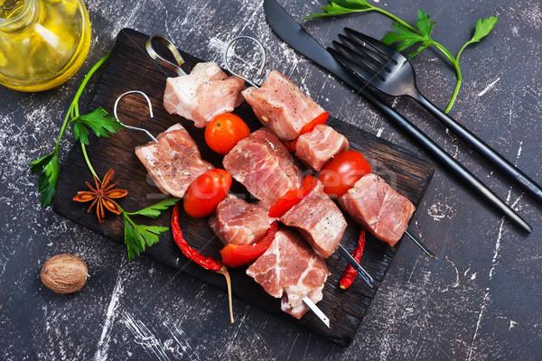 Ruw vlees kebab boord keuken tabel Stockfoto © tycoon