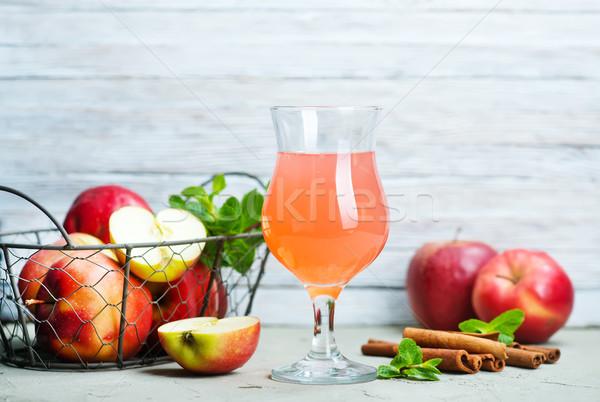 Appel cider glas tabel wijn sterren Stockfoto © tycoon
