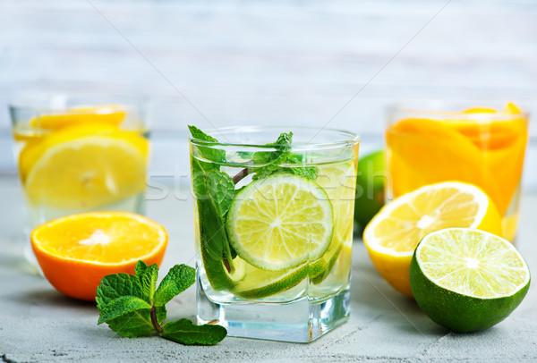 Detoxikáló ital gyógynövény friss gyümölcs étel üveg Stock fotó © tycoon