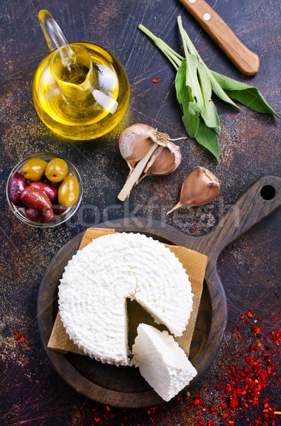 Fromage cottage bord table alimentaire fromages grasse Photo stock © tycoon