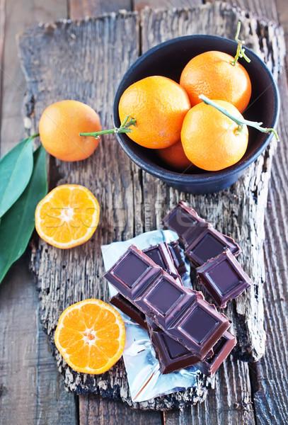 Chocolade tabel hout koffie vruchten Stockfoto © tycoon