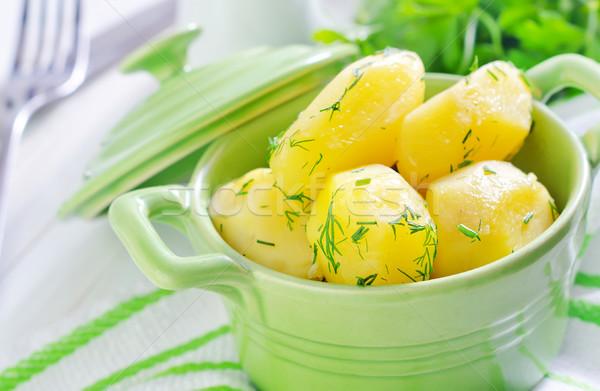 Patates yeşil çanak tablo pişirme Stok fotoğraf © tycoon