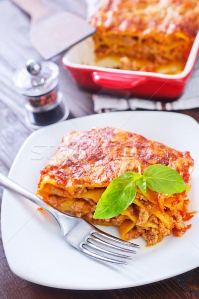 Lasagna formaggio pasta grano cottura erbe Foto d'archivio © tycoon