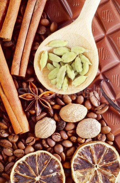 Lezzet baharat çikolata tablo kış kırmızı Stok fotoğraf © tycoon