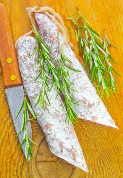 サラミ 木材 赤 肉 皮膚 朝食 ストックフォト © tycoon