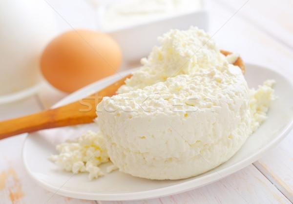 Melk producten vers huisje witte plaat Stockfoto © tycoon