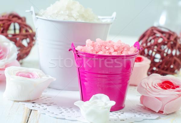 Zeezout lichaam spa bad witte douche Stockfoto © tycoon
