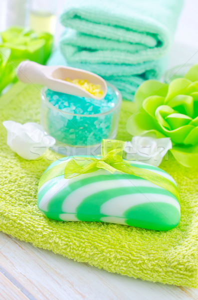 Zeezout zeep lichaam spa bad witte Stockfoto © tycoon