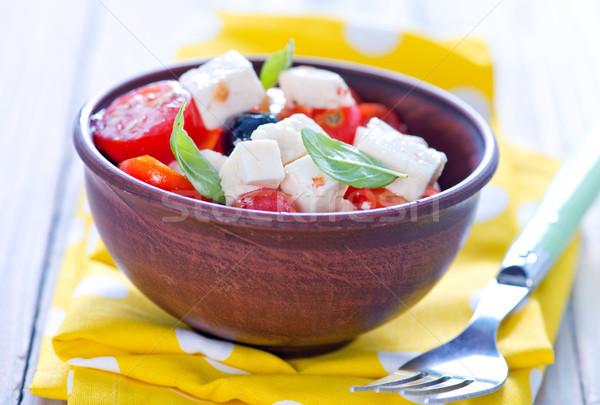 Grieks salade saladeschaal tabel voedsel Rood Stockfoto © tycoon