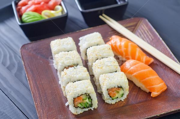 Sushi balık plaka Japon Asya öğle yemeği Stok fotoğraf © tycoon
