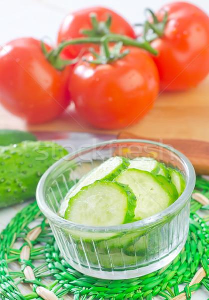 огурца продовольствие фон зеленый Салат томатный Сток-фото © tycoon