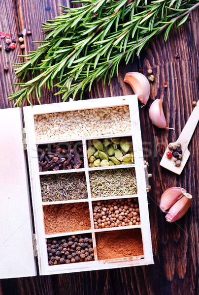 аромат трава Spice таблице фон синий Сток-фото © tycoon