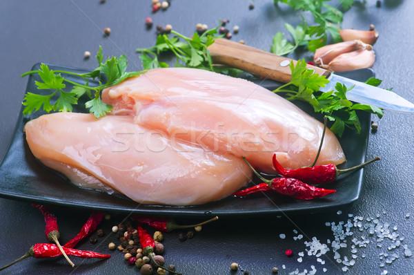 Poulet filet noir table brut alimentaire Photo stock © tycoon