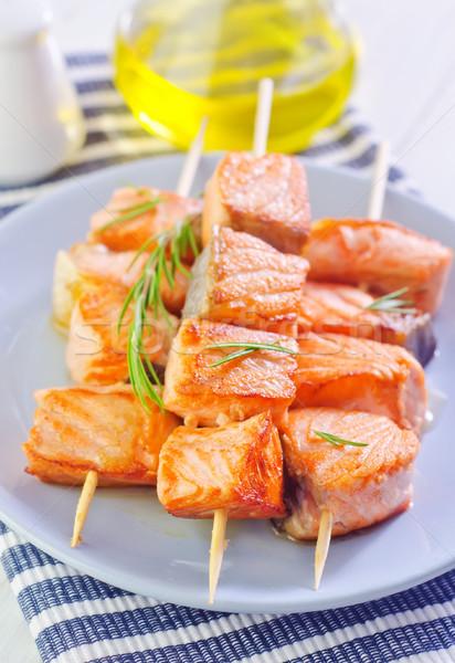 ストックフォト: 鮭 · ケバブ · 食品 · オレンジ · ディナー · 赤