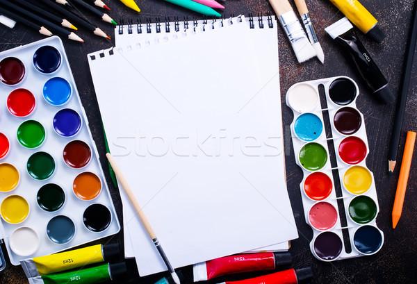 школьные принадлежности таблице складе фото школы искусства Сток-фото © tycoon