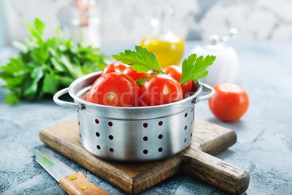 新鮮な トマト 塩 バジル 台所用テーブル 健康 ストックフォト © tycoon