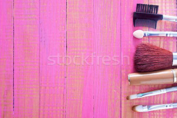 Cosmétiques visage noir blanche brosse outil Photo stock © tycoon