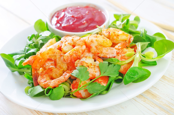shrimps with salad Stock photo © tycoon