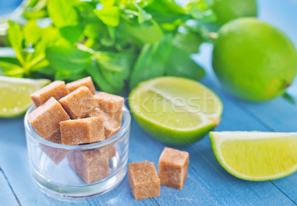 fresh limes with sugar and mint Stock photo © tycoon