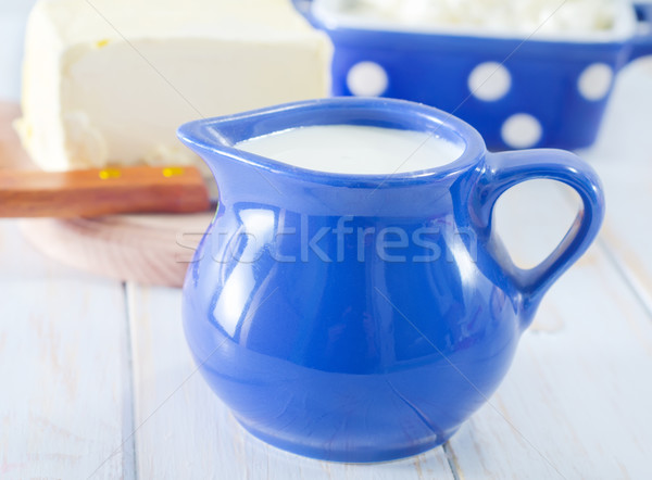 milk in blue jug Stock photo © tycoon