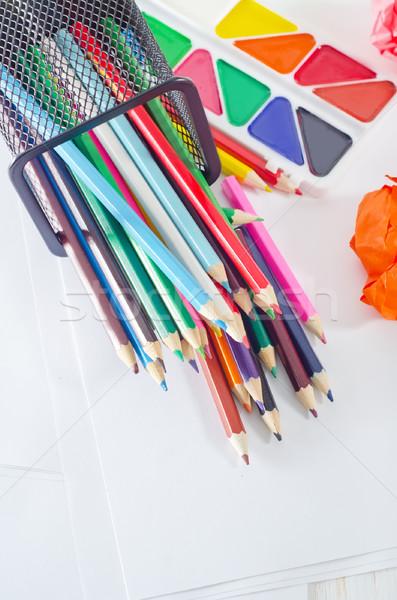 Сток-фото: школьные · принадлежности · служба · студент · карандашом · зеленый · радуга