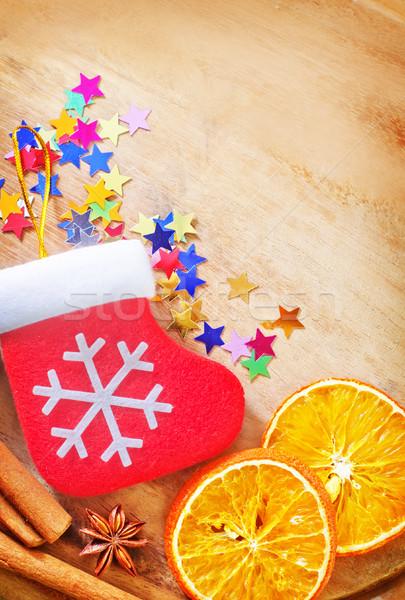 Lezzet baharat Noel şarap ahşap turuncu Stok fotoğraf © tycoon