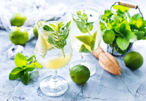 Мохито свежие стекла таблице зеленый коктейль Сток-фото © tycoon