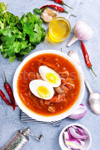 Sopa huevo pasado por agua frescos restaurante mesa cena Foto stock © tycoon