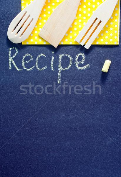 Iskolatábla recept kréta kávé keret étterem Stock fotó © tycoon