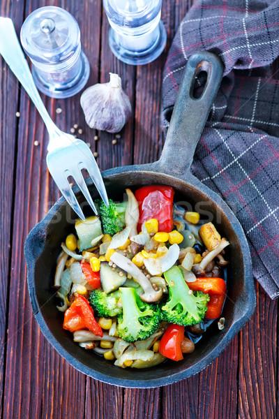 Сток-фото: жареный · овощей · таблице · продовольствие · зеленый