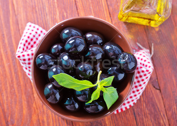 Aceitunas negras frutas petróleo frescos griego especias Foto stock © tycoon