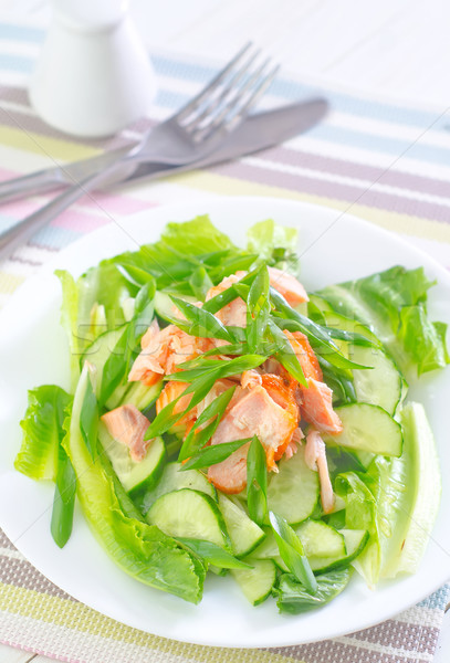 salad with salmon and cucumber Stock photo © tycoon