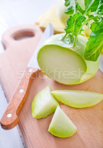 Cabbage kohlrabi on Wooden Kitchen Board Stock photo © tycoon