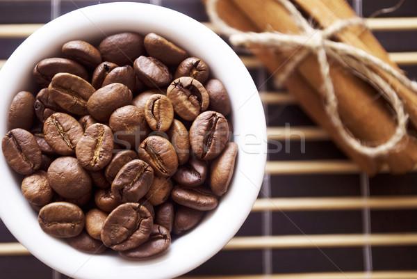 Koffie kaneel zwarte zaad graan doek Stockfoto © tycoon